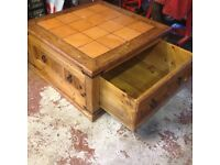 Parrot Pine coffee table with built in storage drawer
