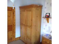 Good quality pine double wardrobe