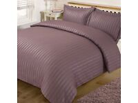 **Brand New** satined striped duvet cover with 2 pillowcases - double