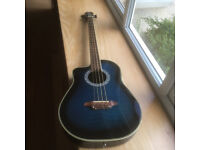 Aria left handed electric/acoustic bass guitar. Model AMB-50BL