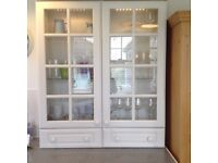 Kitchen display cupboard painted in Farrow and Ball Skimmimg Stone