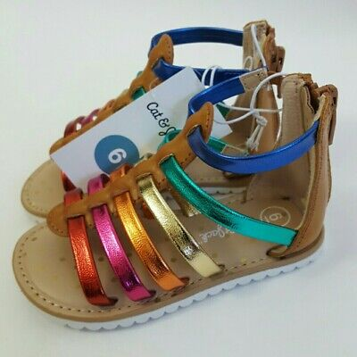 Gladiator Sandals For Toddlers (Cat & Jack Girls Toddlers Multi-color Gladiator Sandals Size 6 ~)