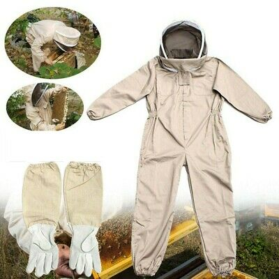 Full Body Anti-bee Suit Beekeeping Hood Coat Protective Space Suit Gloves Hat L