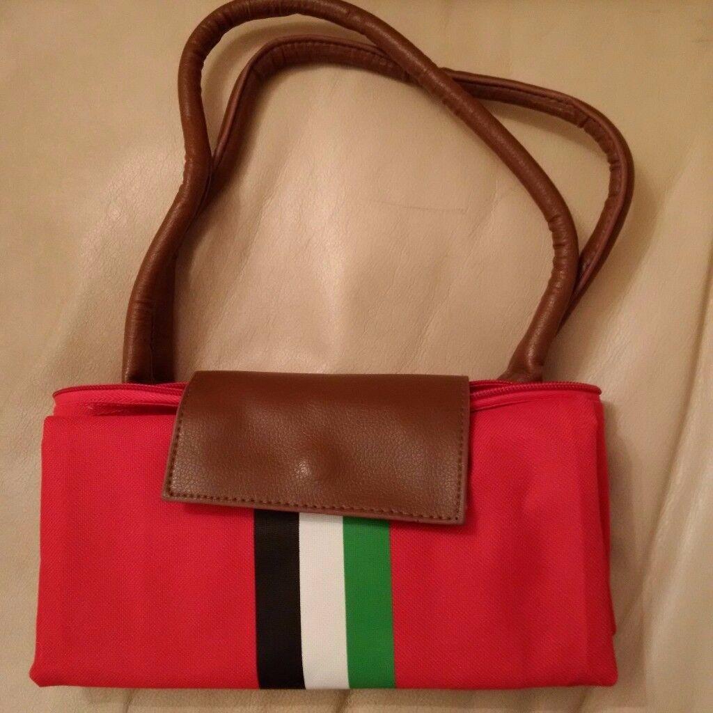 Handbag Red Expandable Zipped with inner pocket for women