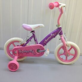 Girls Bicycle with stabilisers. Purple & Pink. Excellent