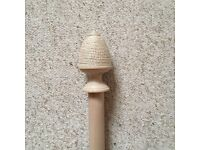 Laura Ashley Limed Wood 35mm Curtain Pole With Rope Finials and Brackets