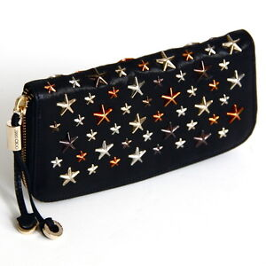 JIMMY CHOO Black Pixelated Leather w Silver Bronze Brown Stars Zip Around Wallet