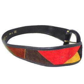 Vintage rainbow patchwork suede / leather waist belt