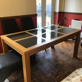 Oak Wood/Glass Dining Table