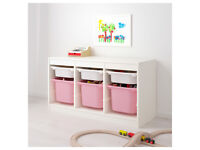 TROFAST Storage combination with 3 big pink and 3 small white boxes