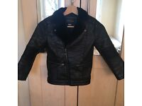 Boys River Island leather look quality biker jacket with faux fur trim