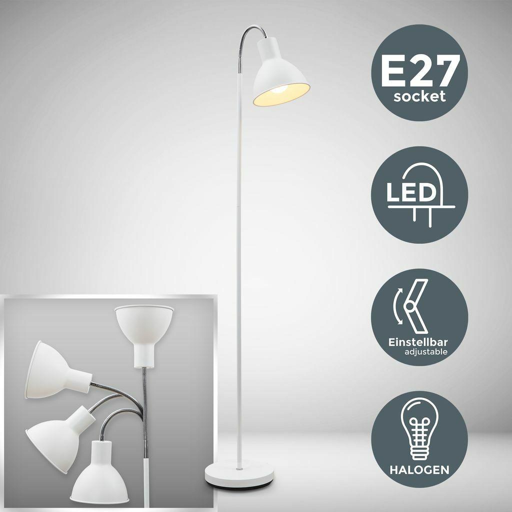 Stehleuchte Industrial Design Stehlampe Stand-Leuchte schwenkbar Metall weiß