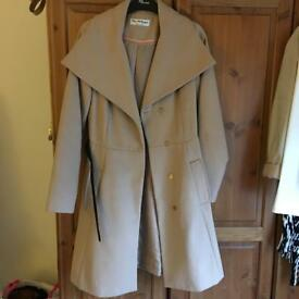 Miss selfridge camel coat with belt.
