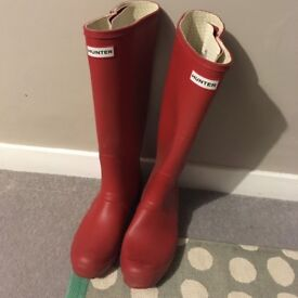 Red Hunter wellies, knee height, size 8, very slightly worn, £30