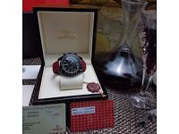 New black face red canvas leather bracelet black Casing Omega Speedmaster Dark Side Of The Moon with
