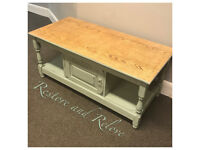Hand Painted Coffee Table Duck Egg Blue Annie Sloan TV Table Distressed Shabby Vintage Chic