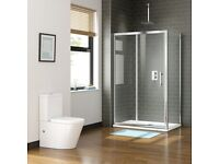 *Brand new* Shower enclosure 1400 x 900mm Sliding Easy Clean Glass with Side Panel