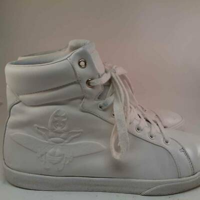 Zara Mens High Top Shoes White Lace Up Embossed Sneakers 2152/302/001 9 EUR 43