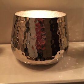 Silver hammered candle holder