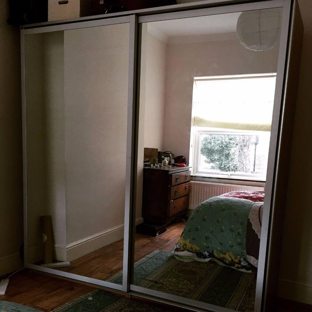 Ikea Pax Malm Double Wardrobe With Sliding Mirror Doors In