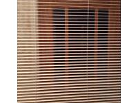 Cream wooden slat Venetian blind