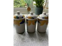 Set of three ceramic kitchen canisters caddy