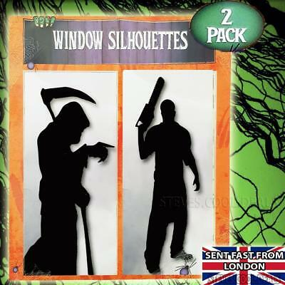 Halloween Decorations Window Silhouettes Grim Reaper Chain Saw Killer](Halloween Saw Decorations)