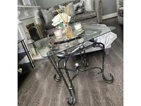 Silver & Charcoal Glass Coffee Table