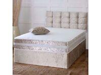 CRUSHED VELVET DIVAN BED + SPRUNG MEMORY FOAM MATTRESS + DIAMANTE/YORK HEADBOARD