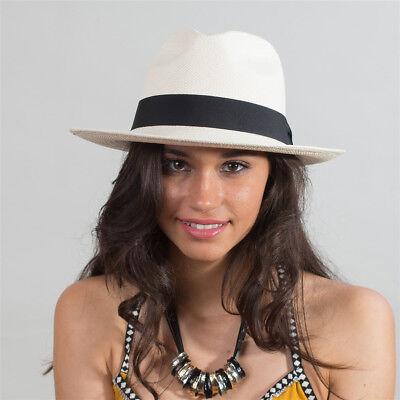 Strohhut Panamahut Fedora weiß Handarbeit aus Ecuador - - Weißer Fedora Hut
