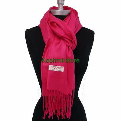 NEW Women Soft PASHMINA Cashmere SILK Classic Solid Shawl Scarf Wrap Hot Pink