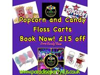 Popcorn and Candy Floss Machine Hire at competitive prices