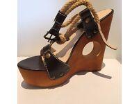 Sandals - Asos - Brown wedge heel platform sandals. Size 5. Heel height 14cm, platform 4cm.