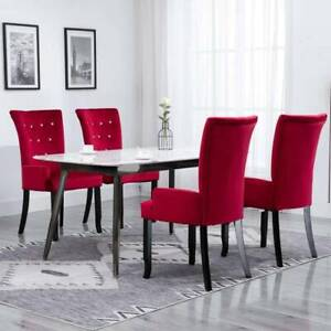 Dining Chair with Armrests 4 pcs Red Velvet JQE7R-276921