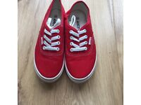 Never Worn Andy-Z Unisex 'Van' Style Red Slip On Lace Up Trainers/Plimsoles