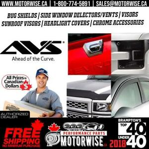 Auto Ventshade (AVS) | WIND DEFLECTORS | BUG  DEFLECTORS | BUG SHIELD | Free Shipping | Buy Today At www.motorwise.ca