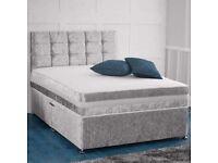 SINGLE/DOUBLE/KING SIZE CRUSH VELVET DIVAN BED BASE WITH OPTIONAL MATTRESS