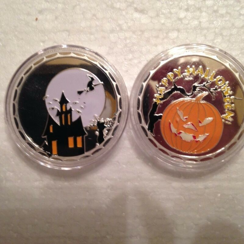 1-Haunted House Halloween Pumpkin Witch Jack O Lantern 1Oz/ounce coin