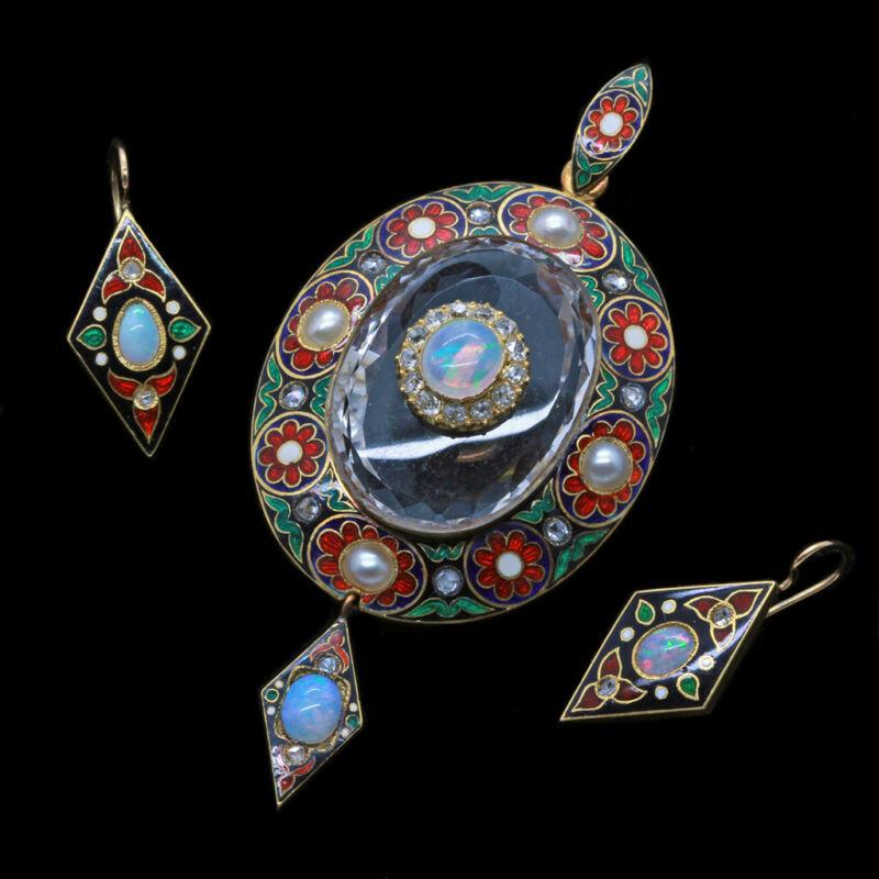 Victorian Earrings Pendant 18k Gold Diamond Opal Pearl Enamel Holbeinesque (4877