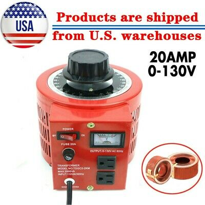0-130V 20A Variable 2000W AC Power Transformer Regulator 20Amp 110V Variac US