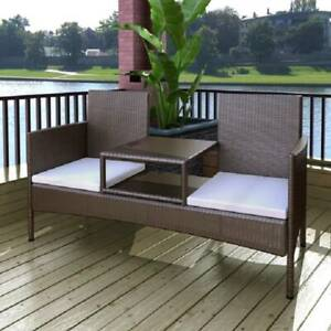 2-Seater Garden Sofa with Tea Table Poly Rattan Brown X21HK-42843