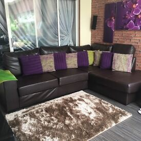 Real leather corner suite sofa set