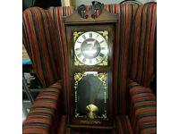 President quartz dark wood wall clock - battery