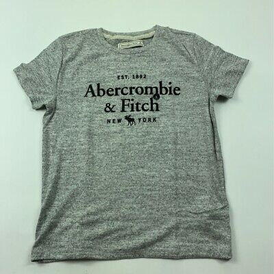 Abercrombie & Fitch Womens Graphic T-Shirt Gray Heathered Stretch Crew Tee S New