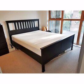 IKEA HEMNES Black King Bed Frame with SULTAN HAMNVIK Pocket Sprung Mattress