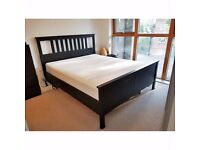 IKEA HEMNES Black King Bed Frame with SULTAN HAMNVIK Pocket Sprung Mattress