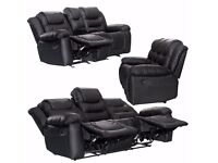 RECLINER SOFAS FABRIC 3+2+1 BLACK BROWN 3 PIECE SUITE SOFA COUCH SALE