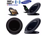 For Samsung Galaxy S6 S7 Edge Fast Qi Wireless Charger Charging Pad Stand Black