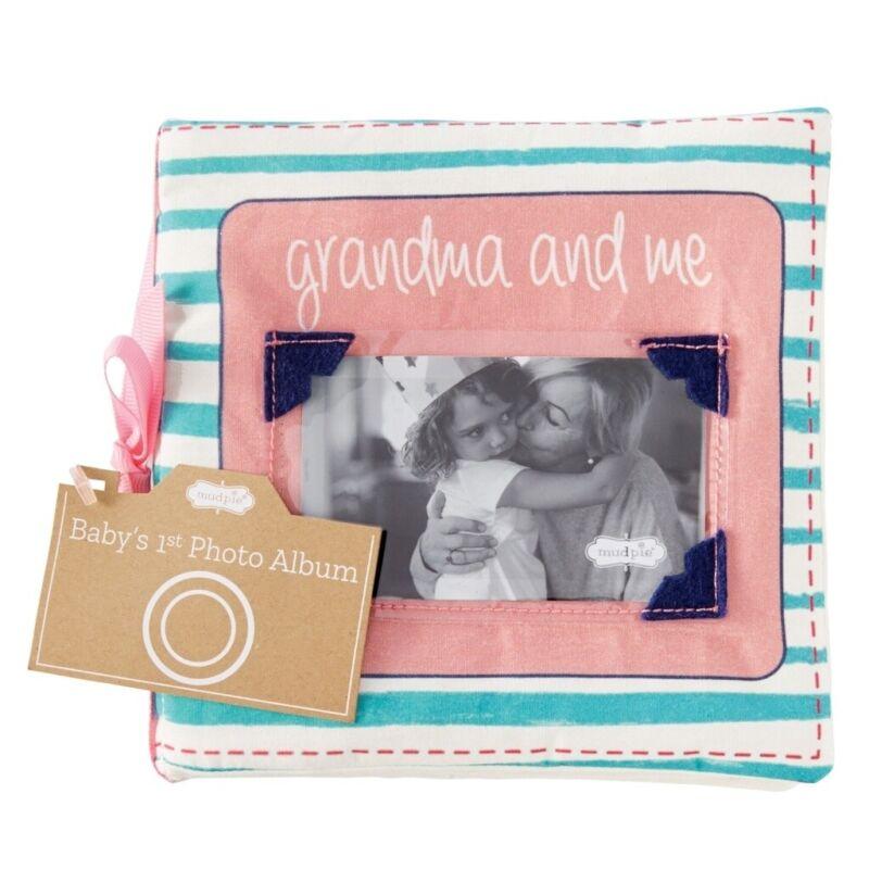 "Mud Pie E1 The Kids Shoppe Baby 6"" L Keepsake Grandma & Me Fabric Photo Album"