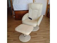 pair of cream leather reclining chairs with massage function and foot stool